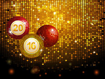 2016 disco baubles over golden tiles background. Christmas Disco Balls Baubles Over Golden Tiles Background Royalty Free Stock Images