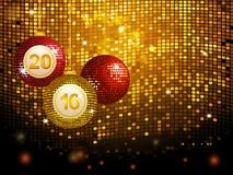 2016 disco baubles over golden tiles background. Christmas Disco Balls Baubles Over Golden Tiles Background stock illustration