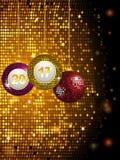 2017 disco baubles over golden tiles. Disco Ball Baubles with 2017 Over Sparkling Glowing Golden Tiles Background Stock Photo