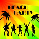 Disco beach party sign. An illustrated sign for a beach party with silhouettes of disco dancers and palm trees on a bright and colorful background Royalty Free Stock Image