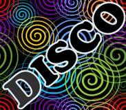 Disco billboard with colorful swirls Stock Photos