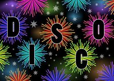 Disco billboard with firework stars in vibrant colors Royalty Free Stock Photography
