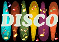 Disco billboard with neon lights and music symbols Royalty Free Stock Image