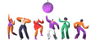 Disco Character Dance at Retro Concert. Disco Ball Over Group of People Dancing. Happy Man Woman Clubbing Nightlife. Concept for Print Banner. Flat Cartoon vector illustration