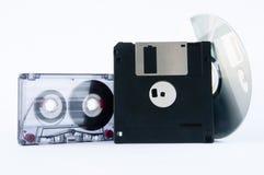 Disco, cinta y del disco blando Foto de archivo libre de regalías