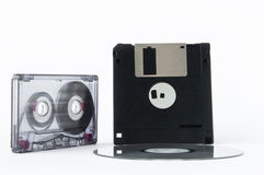 Disco, cinta y del disco blando Fotos de archivo libres de regalías