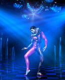 Disco clown. 3d illustration of a clown mime performing on disco club stage with shining mirror balls, chrome lattice scaffold and spotlight rays Stock Photography