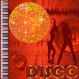 Disco club background. With dancers and disco ball Stock Photo