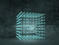Disco club cube. Abstract neon light box illumination Royalty Free Stock Images