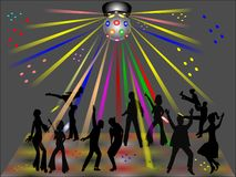 Disco club. Dancers in silhouette in disco club with glitter ball Royalty Free Stock Images