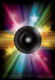 Disco club flyer with black speaker Royalty Free Stock Images