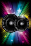 Disco club flyer with black speakers Stock Photo