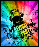 Disco club flyer with Disck Jockey. Shape and a lot of abstract colorful design elements. Ideal for poster and music background Royalty Free Stock Photos
