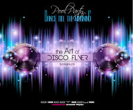 Disco Club Flyer Template for your Music Nights Event. Ideal for TEchno Music, Hip Hop and House Performance Posters and flyers for Discotheques and night stock illustration