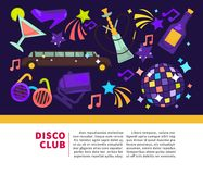 Disco club promotional poster with attributes for fun Stock Images