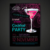 Disco cocktail party poster Royalty Free Stock Images