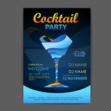 Disco cocktail party poster. 3D cocktail design. Stock Photo