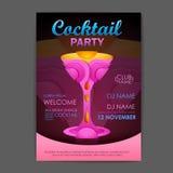 Disco cocktail party poster. 3D cocktail design. Stock Photos