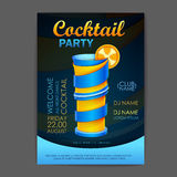 Disco cocktail party poster. 3D cocktail design Royalty Free Stock Photography