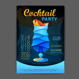 Disco cocktail party poster. 3D cocktail design. Stock Images