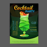Disco cocktail party poster. 3D cocktail design. Royalty Free Stock Photos