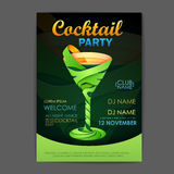 Disco cocktail party poster. 3D cocktail Royalty Free Stock Image