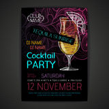 Disco cocktail party poster Stock Images