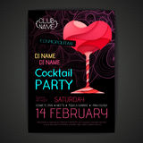 Disco cocktail party poster. Happy valentine royalty free illustration