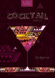 Disco cocktail poster with triangle background Royalty Free Stock Photos