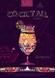 Disco cocktail poster with triangle background Stock Images