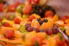 Disco colorido de la fruta con una gran variedad de fruta exótica y de la estación Fotos de archivo libres de regalías