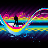 Disco Colors. Abstract background with girl and colors royalty free illustration