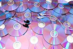 Disco compacto e auscultadores Imagens de Stock