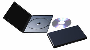 Disco compacto e caso Fotografia de Stock