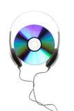 Disco compacto y auricular Fotografía de archivo libre de regalías