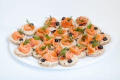 Disco con los bocadillos con los salmones Fotografía de archivo libre de regalías