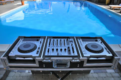 Disco console. Outdoors near the pool Royalty Free Stock Photos