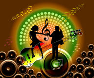 Disco couple. The guitar and speaker with music notes banner in green and brown colourfully gradient,  couple computer generated Stock Photo