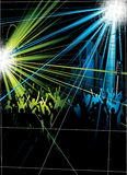 Disco Crowds. An illustration showing blue and green lights with silhouetted dancing crowd in a disco Stock Photography