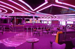 Disco on a cruise. With neon lights Royalty Free Stock Photo