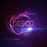 Disco 3D Neon Sign. Vector Glowing Illustration. Applicable For Party Flyer, Banner, Poster Designs. Entertainment Disco Concept. Disco 3D Sign With Particles Royalty Free Stock Photography