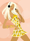 Disco-dance. Dancing girl with player Royalty Free Illustration