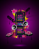 Disco Dance Art Design Poster with Abstract shapes and drops of colors Stock Images