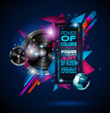 Disco Dance Art Design Poster with Abstract shapes and drops of colors Royalty Free Stock Photography
