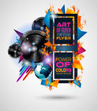Disco Dance Art Design Poster with Abstract shapes and drops of colors. Behind the space for text. Modern Artistic flyer or party thai background Stock Image
