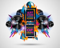 Disco Dance Art Design Poster with Abstract shapes and drops of colors Royalty Free Stock Photos