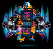 Disco Dance Art Design Poster with Abstract shapes and drops of colors. Behind the space for text. Modern Artistic flyer or party thai background Royalty Free Stock Photography