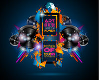 Disco Dance Art Design Poster with Abstract shapes and drops of colors Stock Photo