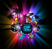 Disco Dance Art Design Poster with Abstract shapes and drops of colors. Behind the space for text. Modern Artistic flyer or party thai background Vector Illustration