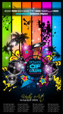 Disco Dance Art Design Poster with Abstract shapes and drops of colors Stock Photography
